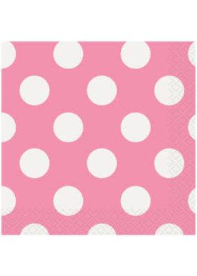 ***Hot Pink Polka Dot Beverage Napkins 16ct