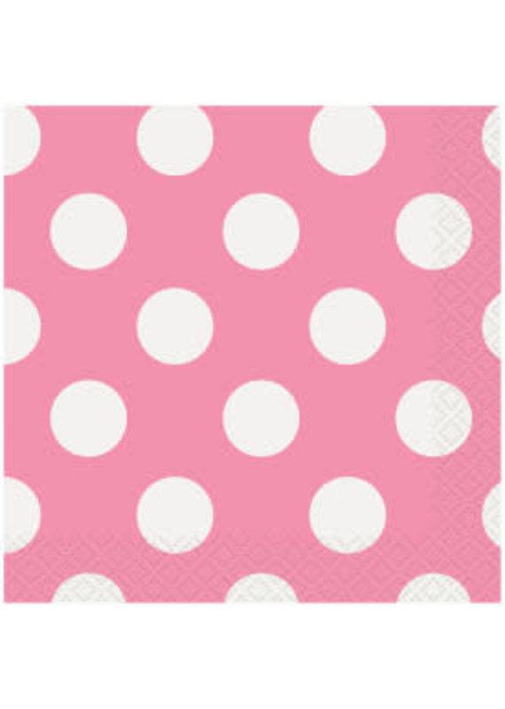 ****Hot Pink Polka Dot Beverage Napkins 16ct