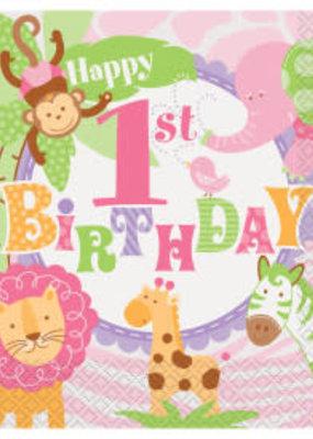 *Pink Safari 1st Birthday Lunch Napkins 20ct