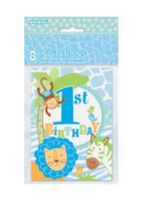 *Blue Safari 1st Birthday Invitations 8ct