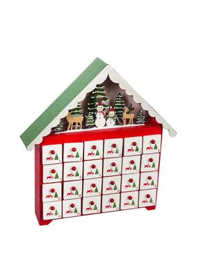 ***LED Wooden Advent Calendar with Functioning Drawers Table Décor