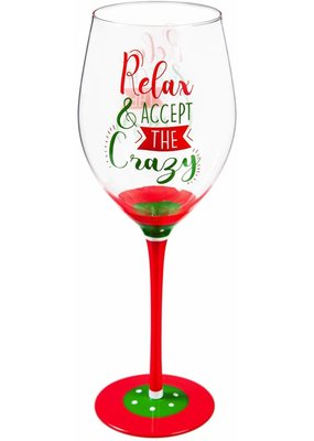 ***Relax & Accept the Crazy Wine Glass with Box