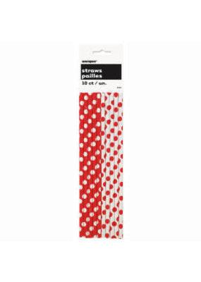 ***Red Polka Dot Paper Straws 10ct
