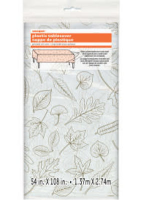 """***Fall Leaves Clear Tablecover Overlay 54""""x 108"""""""