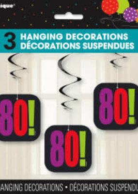 """***Birthday Cheer """"80"""" Hanging Swirls 3ct"""