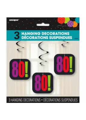 "***Birthday Cheer ""80"" Hanging Swirls 3ct"