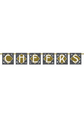 ***Cheers Banner 4ft Black, Gray, White, Gold