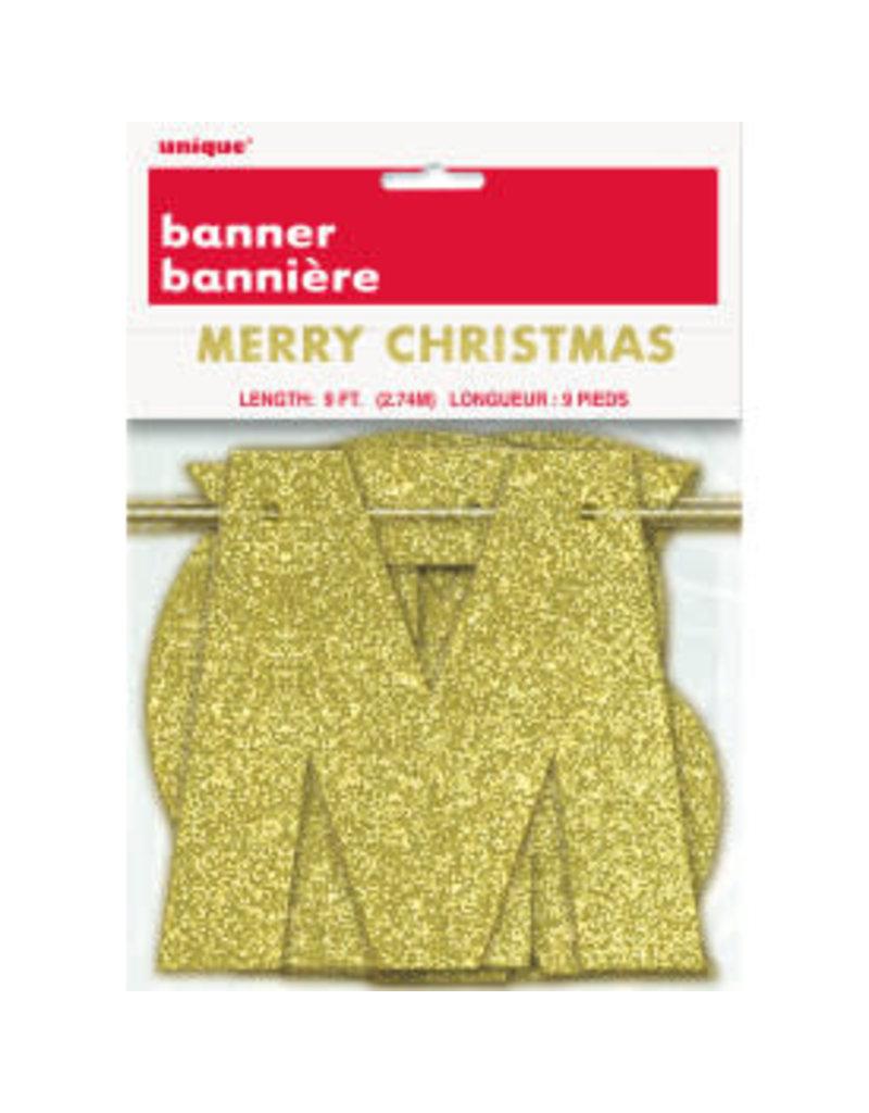 ***Gold Merry Christmas Glitter Banner 9ft