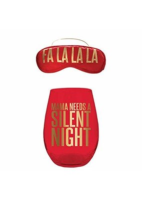 ***Mama Needs a Silent Night Wine Glass & Sleep Mask