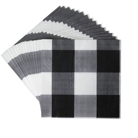 ***Black and White Classic Plaid Lunch Napkins