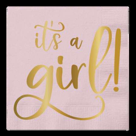 ***It's a Girl Foil Pink Beverage Napkins