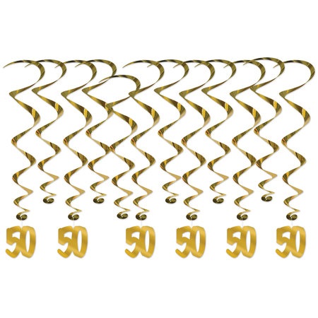 ***Gold 50th Anniversary Hanging Whirl Decorations