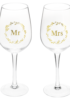 ***Mr & Mrs Stemmed Wine Glasses
