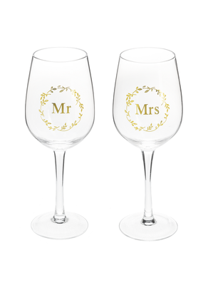 ***Mr & Mrs Stemmed Wine Glasses