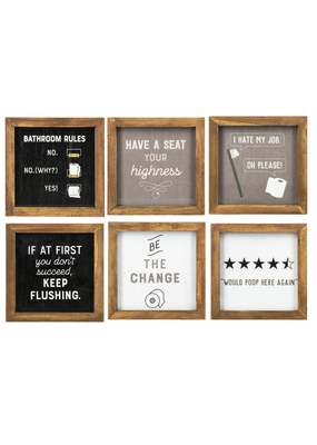 ***Funny Bathroom Framed Signs