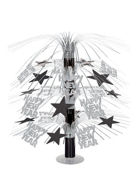 ***Happy New Year Cascade Silver and Black Centerpiece 18""