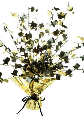 ***Champagne Glass & Top Hat Gold and Black Centerpiece 15""