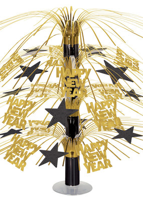 ***Happy New Year Cascade Gold and Black Centerpiece 18""