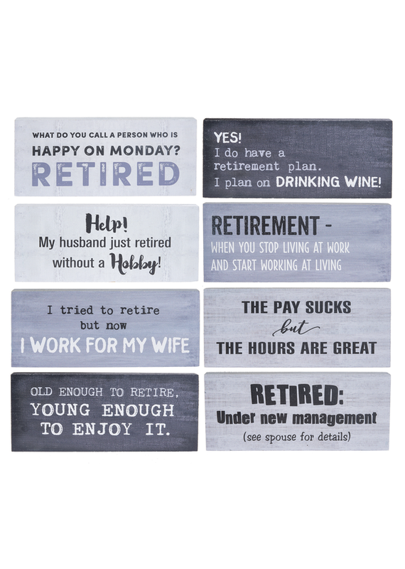***Retirement Shelf Sitter Signs