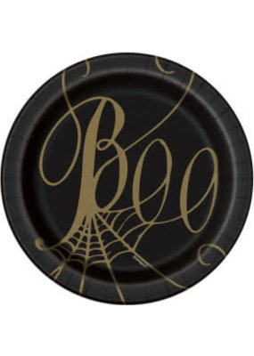 "***Boo Black & Gold Spider Web 7"" Plates 8ct"
