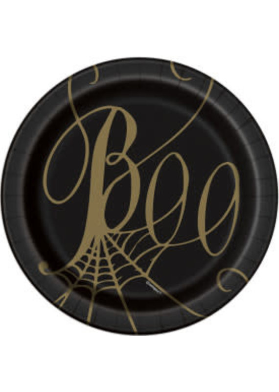 "****Boo Black & Gold Spider Web 7"" Plates 8ct"