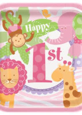 "*Pink Safari 1st Birthday 7"" Dessert plates 8ct"