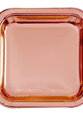 "***Foil Rose Gold 7"" Square Paper Plates 8ct"