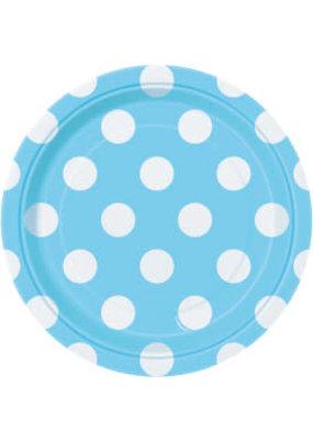 "***Baby Blue Polka Dot 7"" Dessert Plates 8ct"