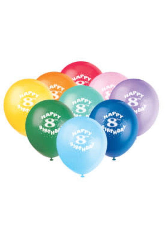 *** HAPPY 8TH Birthday 6ct latex balloons