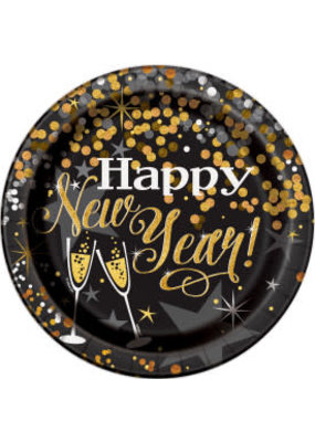 "***Glittering New Year 9"" Dinner plates 8ct"
