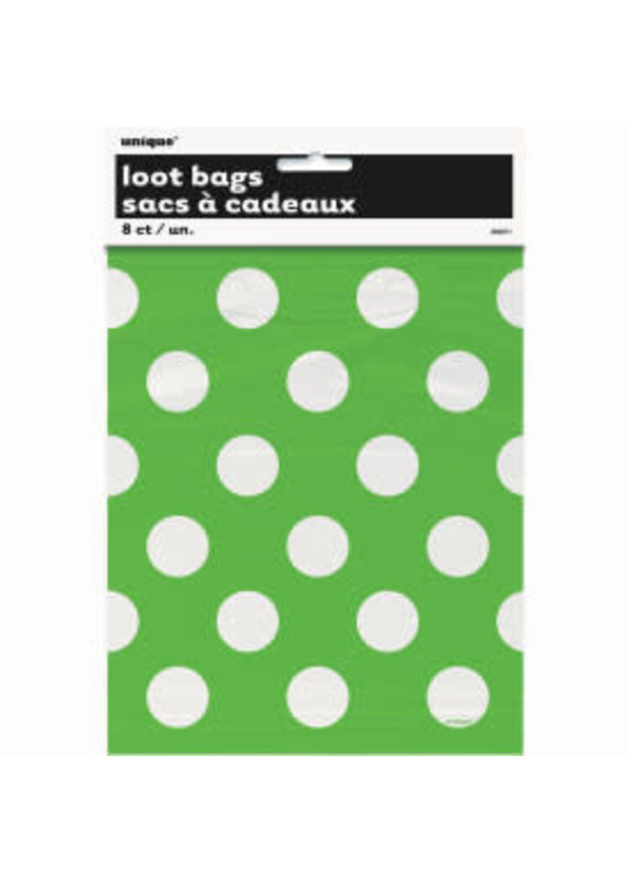 ***Lime Green Polka Dot Loot Bags 8ct