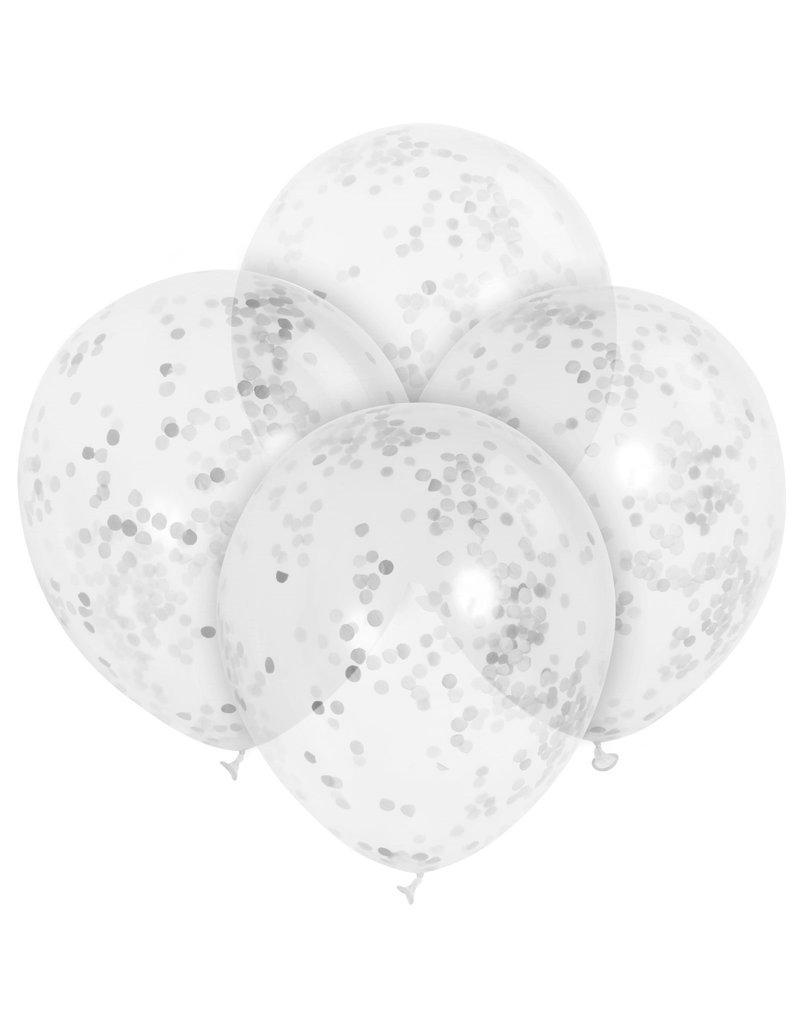 ***Silver confetti Balloons 6ct