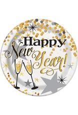 "***Glittering New Years 7"" Dessert Plates 8ct"