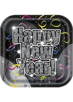 """***Countdown To New Years 7"""" Square Plates 8ct"""