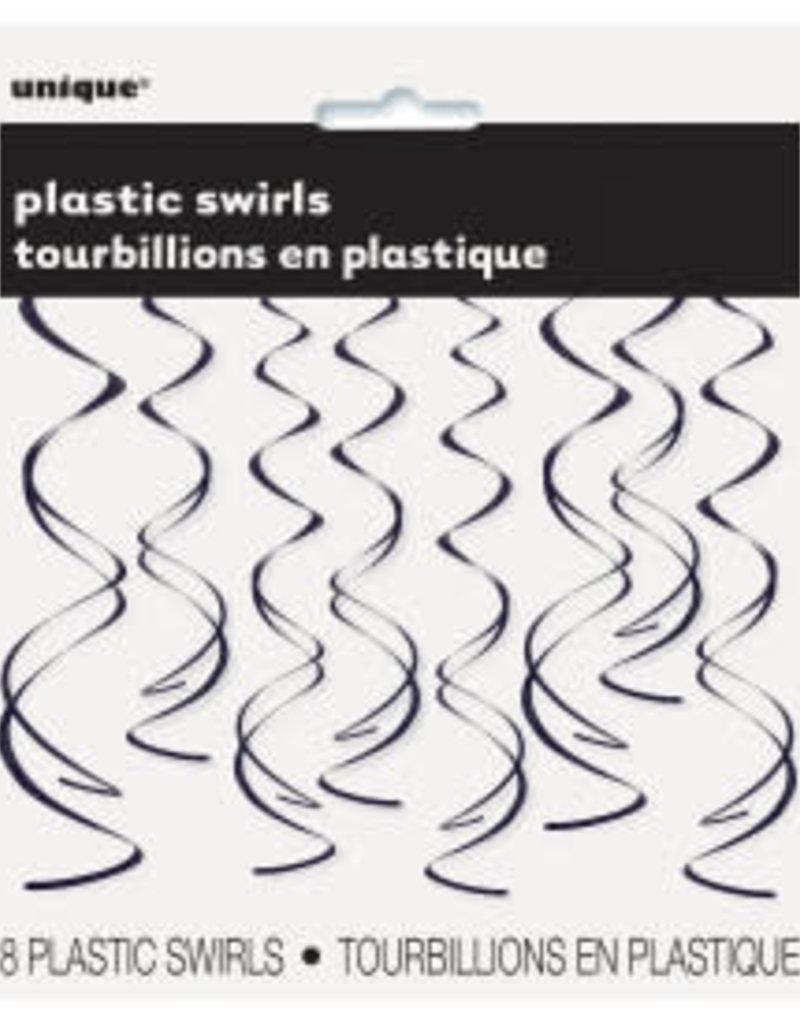 Black Plastic Swirls 8ct