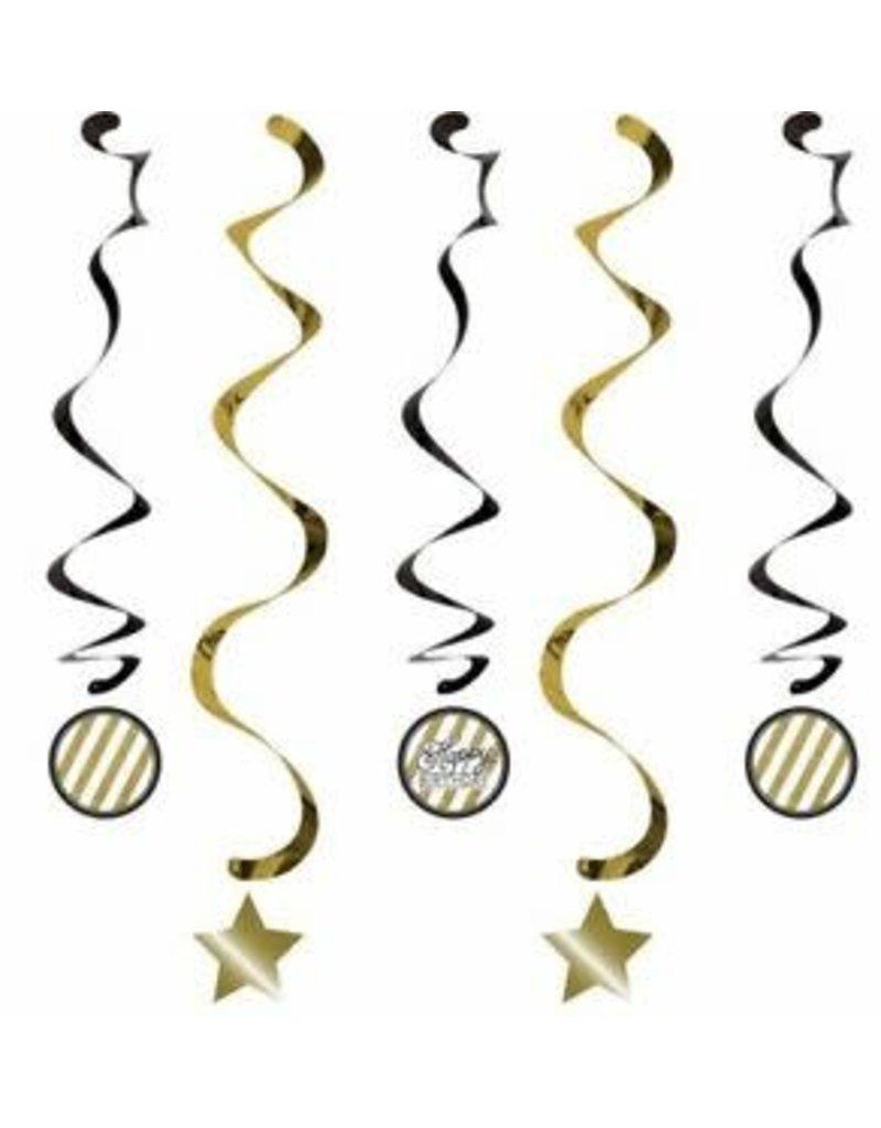 ***Black & Gold Dizzy Danglers 5ct