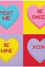 ***Candy Hearts Beverage Napkins 16ct