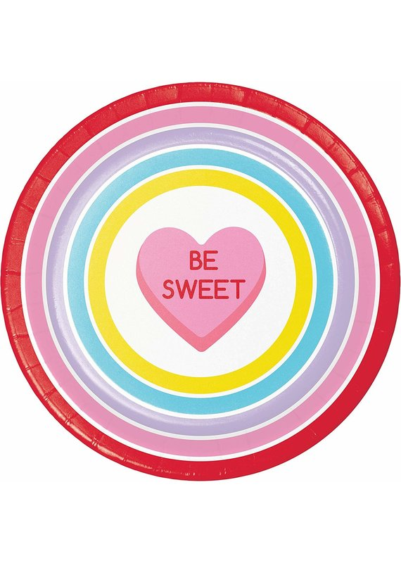 """*****Candy Hearts 9"""" Dinner Plates 8ct"""