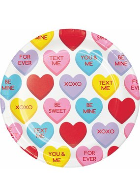 "***Candy Hearts 7"" Dessert Plates 8ct"