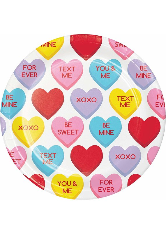 """*****Candy Hearts 7"""" Dessert Plates 8ct"""