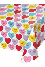 """***Candy Hearts Plastic Tablecover 54""""x 102"""""""