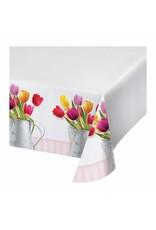 "***Springtime Tulips Plastic Tablecover 54""x 102"""