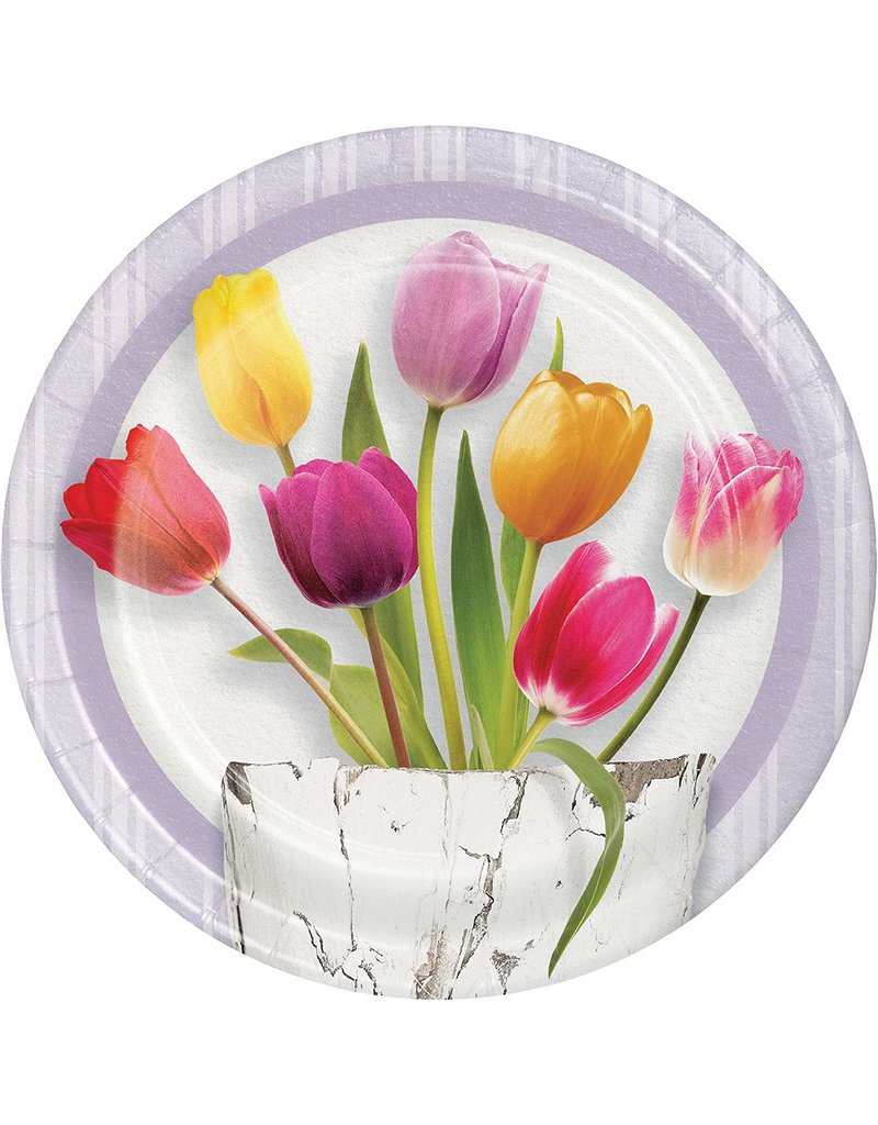 "***Springtime Tulips 7"" Dessert Plates 8ct"
