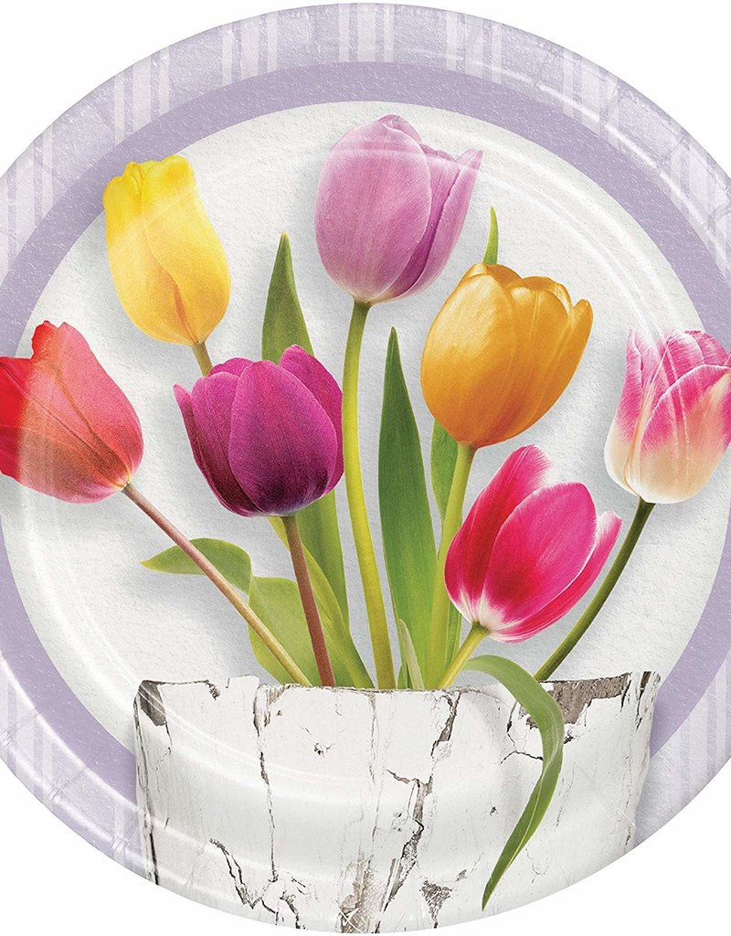 """***Springtime Tulip 9"""" Dinner Plates 8ct"""
