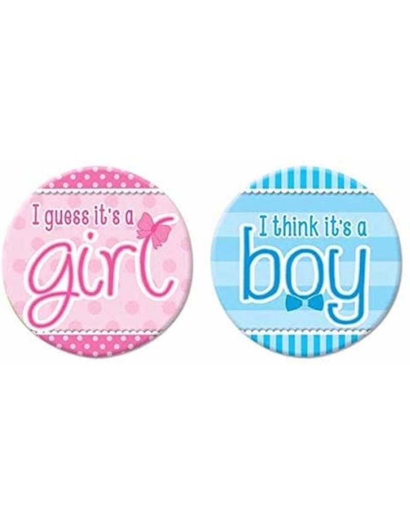***He or She Gender Reveal Buttons