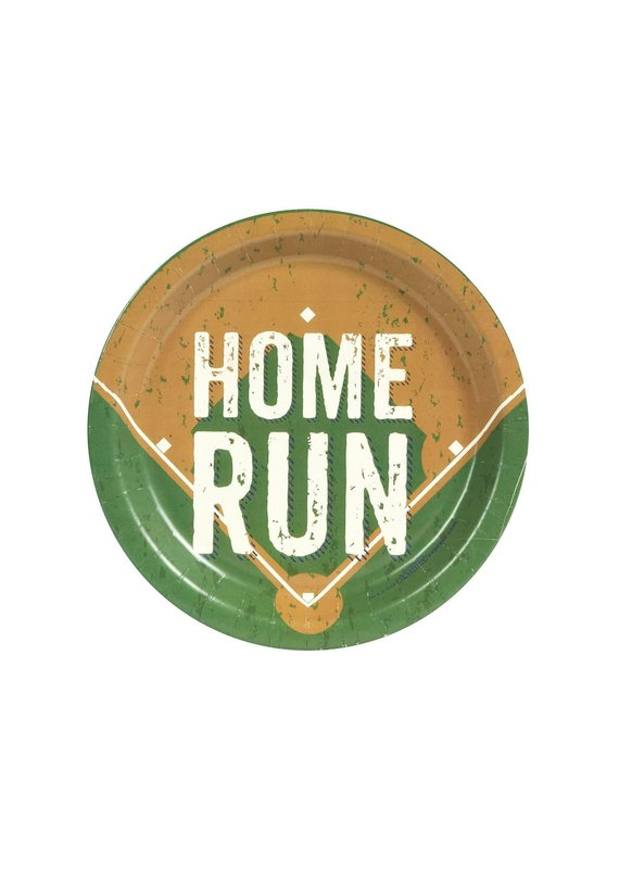 "***Baseball Party Home Run 7"" Plates 8ct"