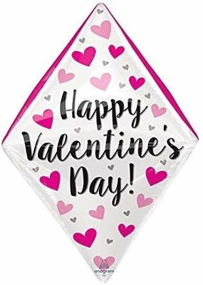 ***Happy Valentine's Day Diamond Shape Mylar