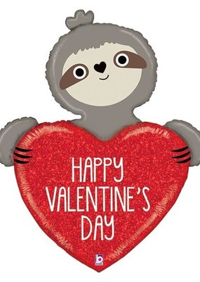 "***Valentine Sloth 35"" Mylar Balloon"