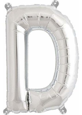 North Star ***Air Filled Silver Letter D Mylar Balloon