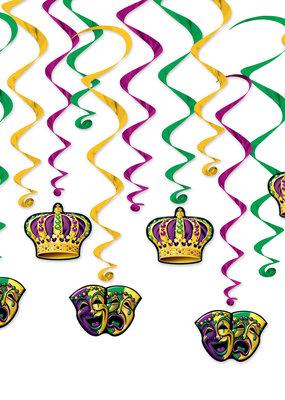 ***Mardi Gras 12ct Whirls Hanging Decorations